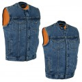 Blue Denim Zip and Snap Front CCW Motorcycle Vest