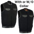 Black Denim MC Vest with Leather Trim (Collar or No-Collar)