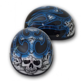 Skull and Flames Blue Skull Cap Novelty Helmet