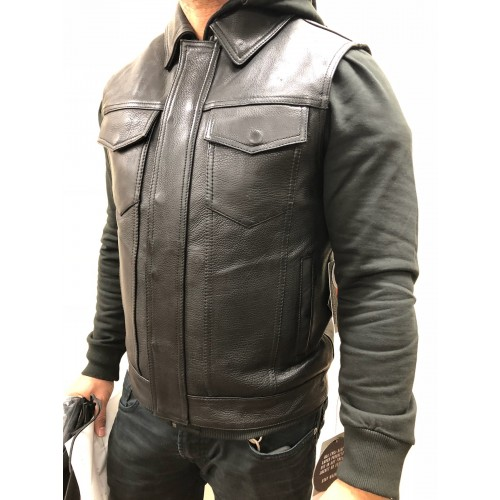 Kent Leather Motorcycle Vest with Hoodie by First MFG