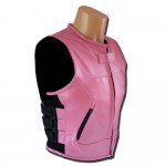 Ladies Leather Swat Vest Pink (LU875P)
