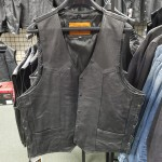 """Size 48"""" Black Leather Cowhide Vest with Side Laces - MV102R - CLEARANCE"""