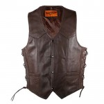Brown Premium Naked Cowhide Motorcycle Vest
