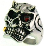 Devil with Red CZ Eye - Stainless Steel