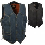 Milwaukee Traditional Denim Biker Vest with Side Laces