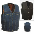 Denim V-Neck Vest With Side Laces - (Black or Blue) - DM249