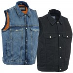 Denim Concealed Carry Motorcycle Vest by Daniel Smart MFG