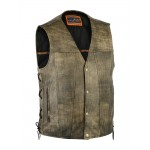 Antique Brown Concealed Carry Motorcycle Vest