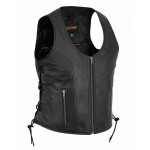 Ladies Ultra Soft Naked Goat Skin Leather Vest with Gun Pockets - DS245
