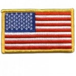 US Flag Gold Border Patch 3.25 X 2