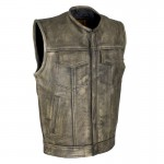 Brown Concealed Carry Club Vest made from Premium Naked Cowhide - GUN519-BRN