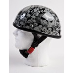 Novelty Skull Half Helmet - Grey