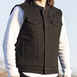First Manufacturing Canvas Motorcycle Vest with Black Bandana Liner