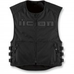 Icon Brigand Black Stealth Motorcycle Textile Vest with Removable Back Armor