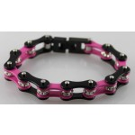 Stainless Steel Bracelet with Crystal Rollers - Black/Pink