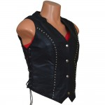 Ladies Studded Motorcycle Vest with Concealed Carry Gun Pockets - MV864