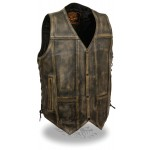 Distressed Brown 10 Pocket Vest with Gun Pockets - MLM3540