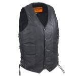 Traditional Single-Panel-Back Leather Motorcycle Vest with Concealed Carry (LU8102R)