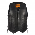Ten Pocket CCW Black Leather Classic Motorcycle Vest