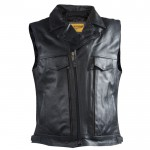 Lapel Collar Gun Pocket Motorcycle Vest - MV417SS