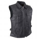 Premium Naked Fold Down Collar and Zip Up Front Club Vest - MV423