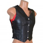 Womens Braided Leather Vest (LU8836)