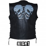 Reflective Skulls Vest - You Choose Leather Quality