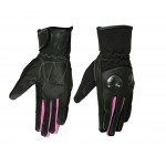 Womens Leather / Textile Sport Gloves with Hard Knuckles and Hot Pink Trim - DS77PK