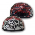 Skull Cap Novelty Helmet - Skull & Flames RED