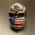 Skull with USA Bandana - 316L Stainless Steel